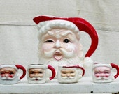 Reserved for Starr Napco Winking Santa Claus Pitcher and Cups