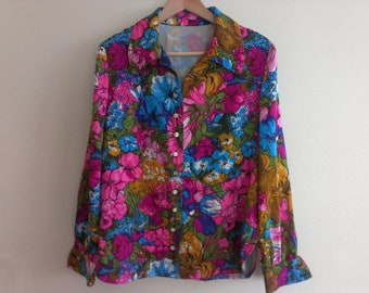 70s colorful women shirt large