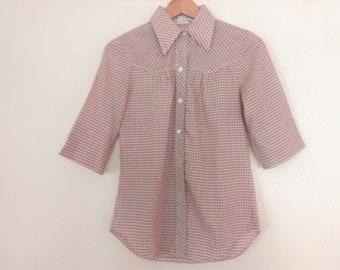 60s vintage women gingham shirt medium secures, missing 2 buttons