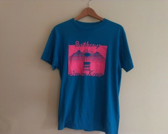 80s vintage men's large Bethany Camp pink mountains