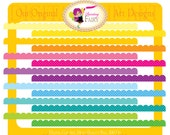 Digital Borders Scalloped Rainbow Fun Clipart Embellishments Scrapbooking Elements DIY layout images Personal & Commercial Use pf00030-9