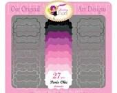 Digital clipart Paris chic elements Fancy shapes Frames Labels Girl Clipart purple pink clipart Frames Scrapbooking Label clipart pf00043-3