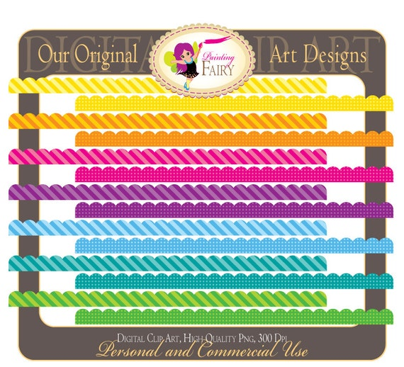 Digital Borders Scalloped Rainbow Fun Clipart Embellishments Scrapbooking Elements DIY layout images Personal & Commercial Use pf00030-12