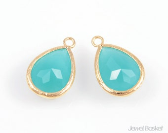 2pcs - Mint Color and Gold Framed Glass Teardrop Pendant / mint / green / 16k gold plated / glass / drop pendant / 11.5 x 17mm / SMTG013-P