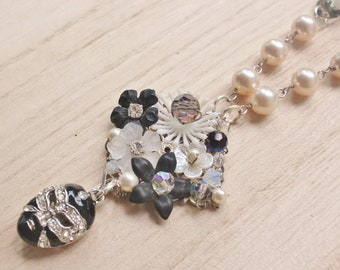 Masquerade Statement Necklace - Phantom of the Opera inspired jewelry - crystal mask charm, vintage acrylic flowers & pearls
