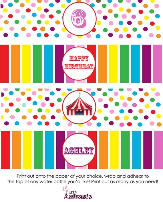 Items Similar To Diy Printable Rainbow Circus Water Bottle Labels