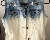 Vintage Ombre Distressed Studded Denim Vest