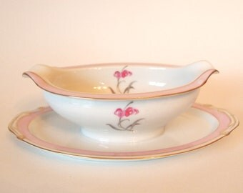 Vintage Gravy Boat Pink China Mikado 'Sabrina' with Attached Underplate  - Japan Circa 1960s Mid Century Serving Dining