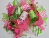 Hot Pink and Green Over the Top Hair Bow Deluxe Boutique Hairbows Funky loopy