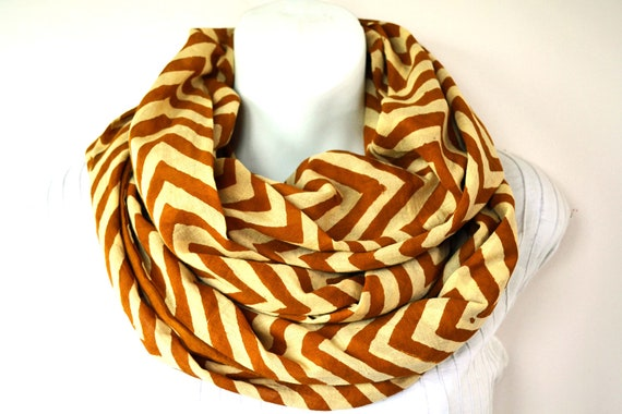 Camel Tan, Chevron stripes, Infinity Scarf - Hand block printed, Natural Vegetable Dyes, Cotton Loop Scarf, Infinity Cowl, Tube Scarf