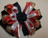 Large Back to School Hair Bow Toddler to Big Girl Boutique Uniform Red Navy Khaki Nautical