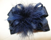 Princess Hair Bow Dark Navy Blue Marabou Posh Diva Girl OTT Boutique Toddler School Uniform Casual Pageant Wear Pinch Clip