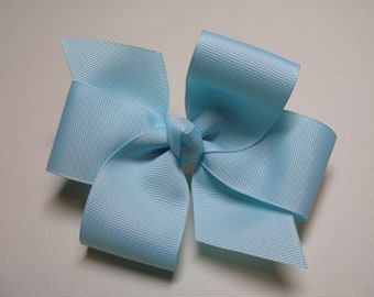 Light Blue Hair Bow Simple Traditional Basic Classic School Uniform Style Toddler Girl
