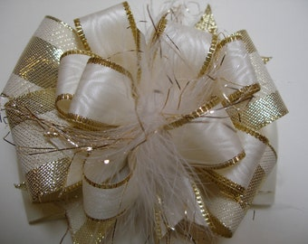 Over the Top BIG Hair Bow Cream Gold Unique Large Boutique Toddler Girl Marabou Party Princess Glitz Pageant Wedding Photo Prop