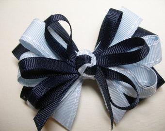 Dark Navy & Light Pale Baby Blue  Hair Bow Back to School UNIFORM Boutique Toddler Girl Grosgrain Handmade