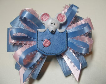 Adorable MOUSE  in a pocket Boutique Toddler Hair Bow Layered Chambray Blue and Pink Toddler girl