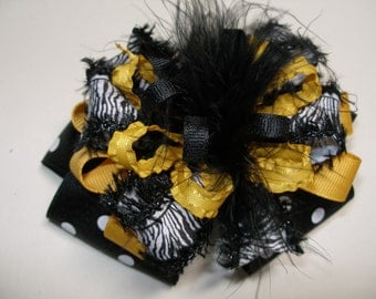Stellers Black Gold Hair Bow Dark Polka Dot Marabou Large Boutique Toddler Girl