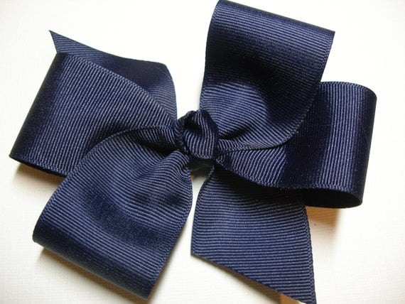 UNIFORM Dark Navy Blue Hair Bow School Girl Simple Traditional Pinwheel Basic Classic Style Toddler Girl