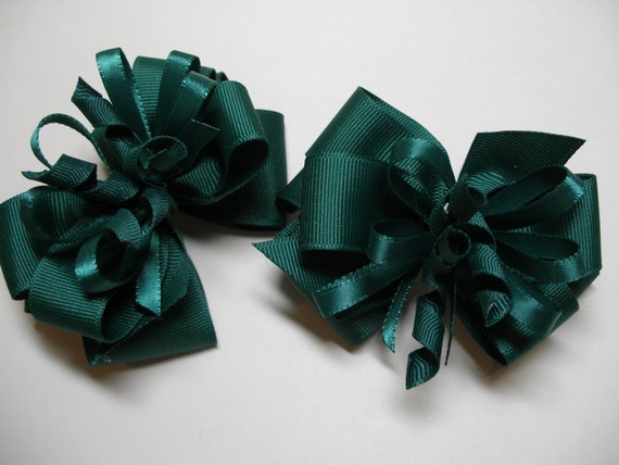 Hair Bows Pig Tail Pair Dark Forest Hunter Evergreen Spruce Green St Patricks Day School UNIFORM Toddler Girl Grosgrain Korker set of 2