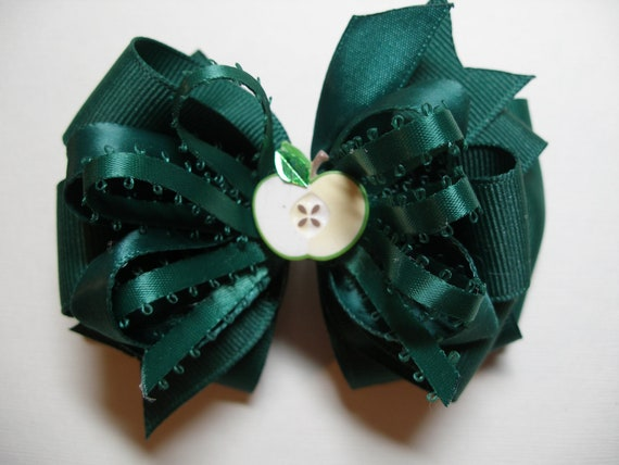 School Uniform Hair Bow Dark Forest Hunter Green Apple Unique Boutique Toddler Girl