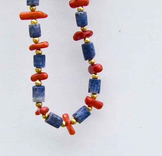 Coral and Sodalite Bracelet, Red, Blue, and Gold Cheer