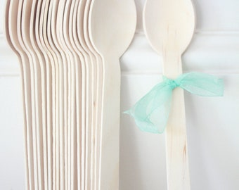 20 Wooden Party Spoons