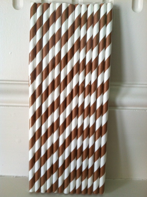 Brown and White Striped Paper Party Straws (25) with DIY Straw Flag