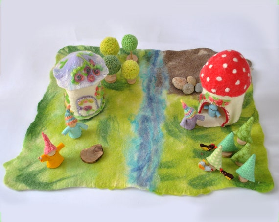 wool felted playscape playmat big size ecofrendly green