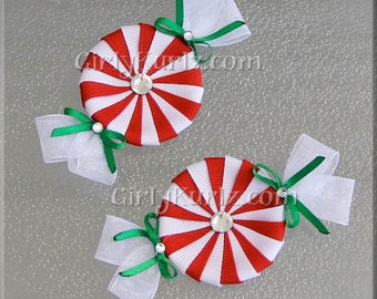 Red & White Peppermint Candy Hair Clips, Christmas Hair Bow, Christmas Hair Clip, Candy Hair Clips, Candy Hair Bow, Peppermint Bow