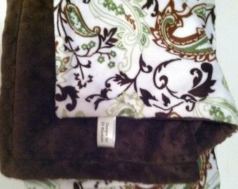 Toddler Minky Blanket  Brown Green Paisley  Minky Baby Blanket  Toddler Bedding Boy or Girl Bedding 40 x 50in