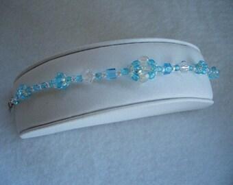 Hand Stitched Blue Crystal Beaded Bead Bracelet