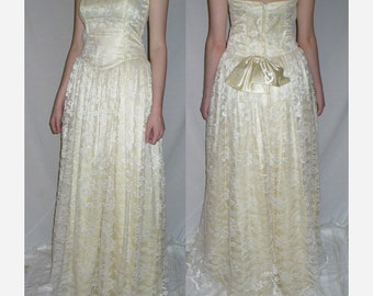 Vintage Gunne Sax by Jessica  McClintock   Strapless Ivory  Prom Wedding Formal