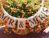 Rustic, burlap wedding banner - burlap wedding sign - burlap and lace- Mr. & Mrs.
