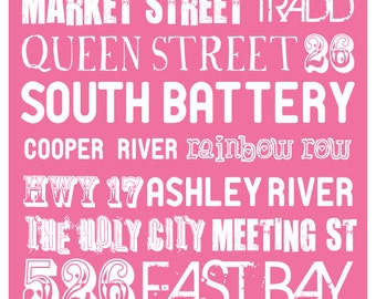 """The """"Original"""" Charleston, SC Typography Poster with Solid Color Choice"""