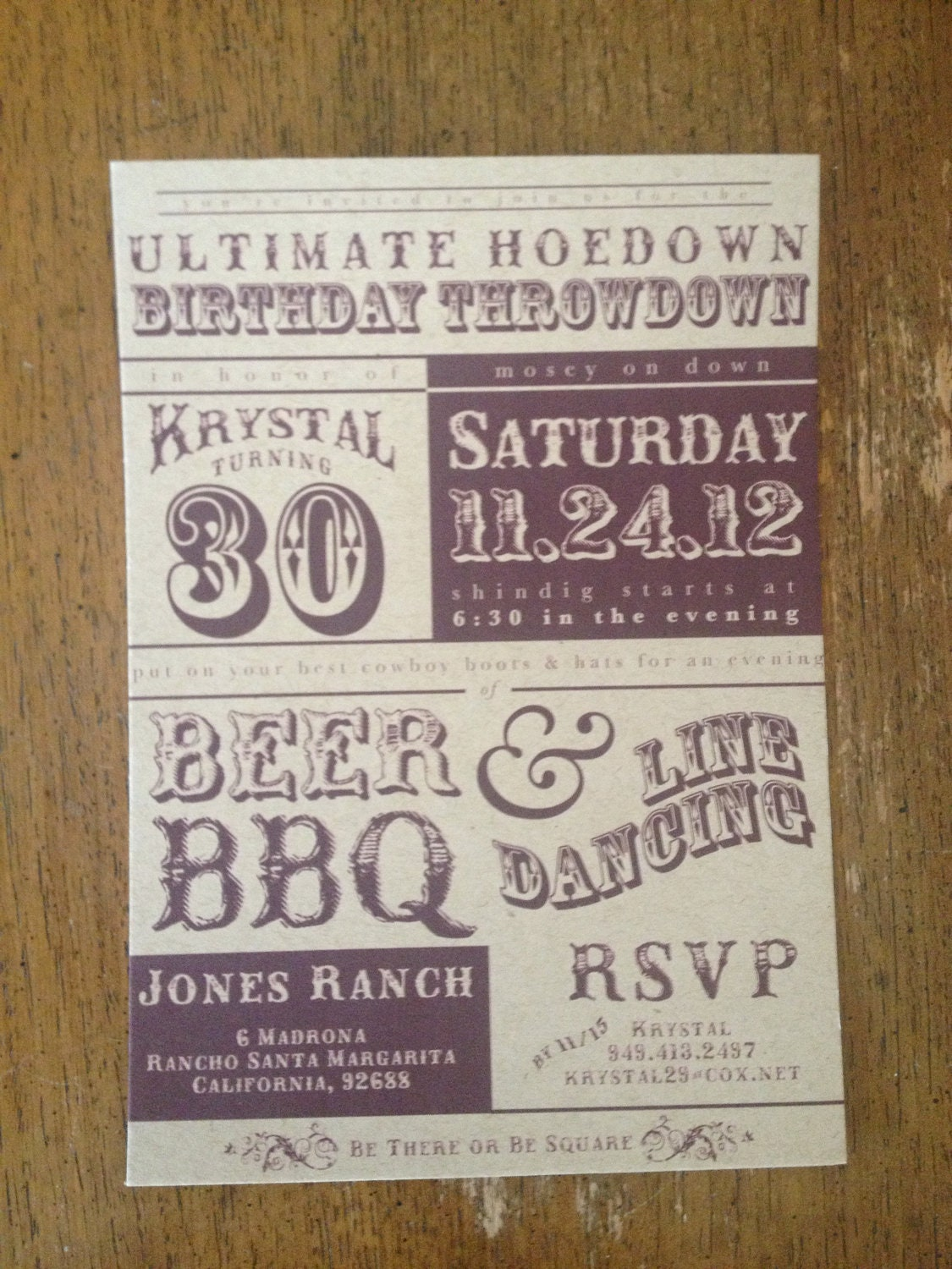 printable western hoedown birthday invitation by lobodesign
