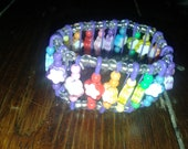 Purple Safety Pin Bracelet wth Rainbow and Flower Beads