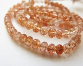 Sunstone Oregon, Rondelles, Beads, AAA , Micro Faceted, Half Strand, 3mm-4mm, 8 inches