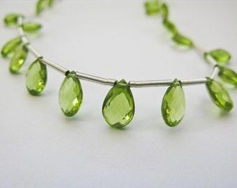 Peridot Flat Pear Briolettes, AAA, Full Strand, 7-9mm, aaagems, 22 Peridot Beads