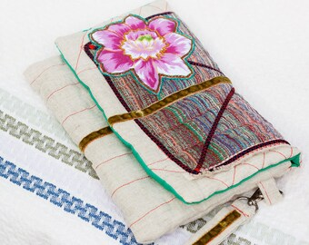 OOAK natural linen clutch with cotton flower applique, eco bag with cotton linning