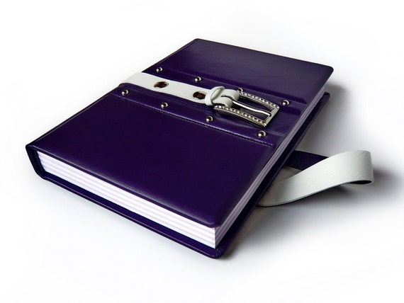 Purple leather journal in gift box