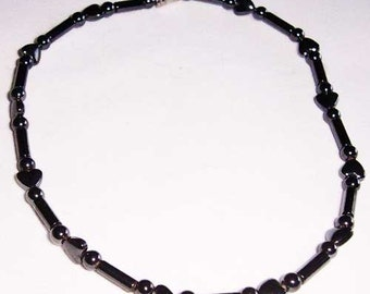 Hearts Hematite Anklet, Magnetic Ankle Bracelet Free Shipping 7036