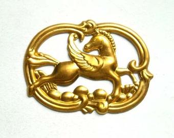 1 Raw Brass Art Nouveau Pegasus Stamping - 22-18-2