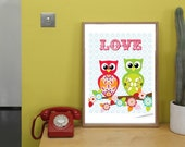 "Owls in Love 8""x10"" digital JPEG print DIY Printable"