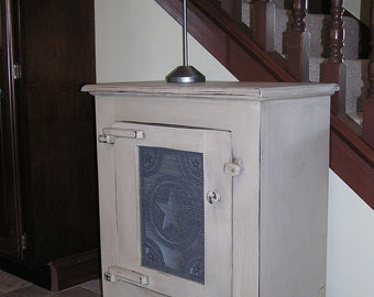 Primitive Punched Tin Cabinet