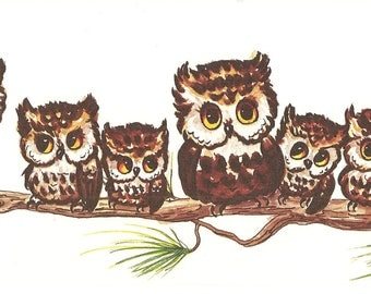 "7 Owls Watercolor 4"" x 10"" print by artist Lois Mae Thayer (1915-2008)  UNFRAMED"