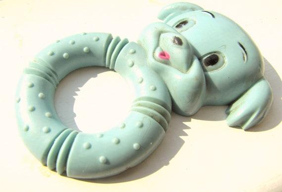 Vintage Baby Teething Ring Aqua Blue Nursery Decor Baby