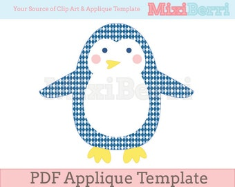 Penguin Applique Pattern PDF Instant Download