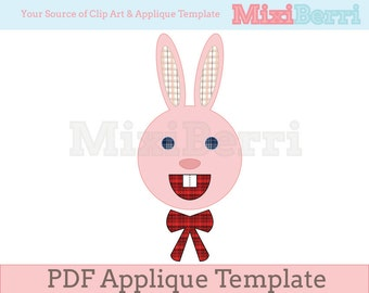 Lovely Bunny Applique Template PDF