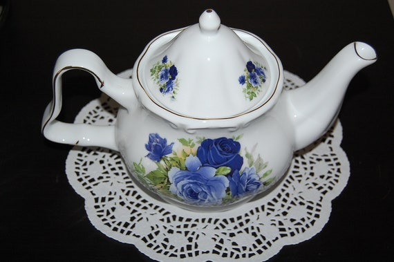 Vintage White Teapot with Blue Roses and Gold Trim