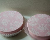 Pink Chocolate and White Damask Chocolate Covered Oreos